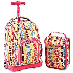 Школьный рюкзак на колесах JWORLD LOLLIPOP цвет Неоновые Шашки